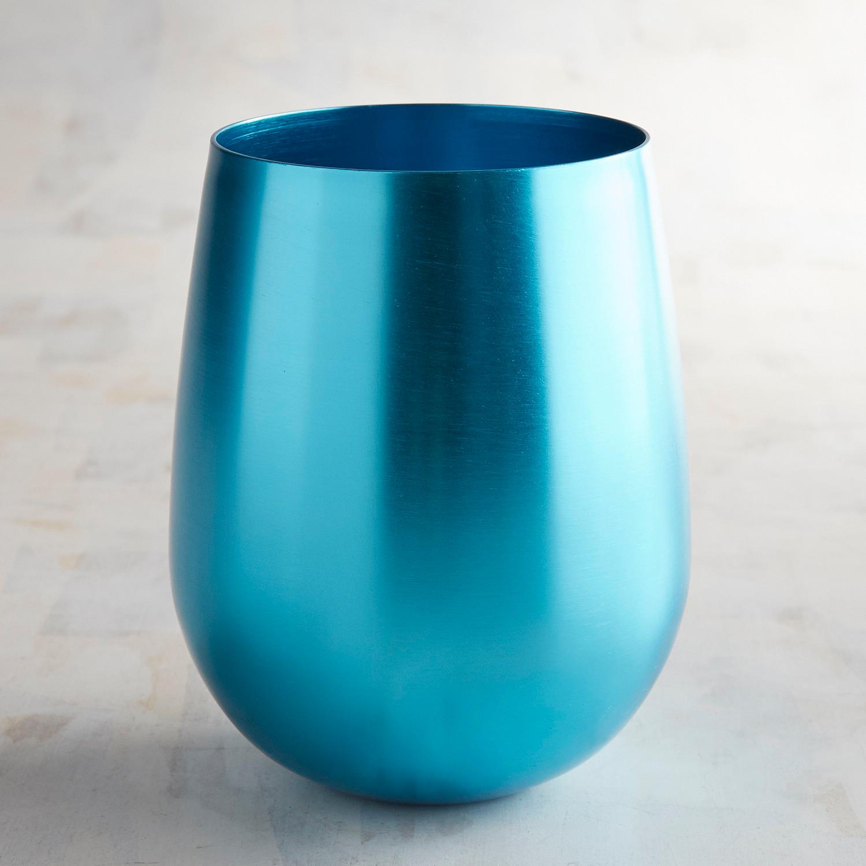 Vivid Turquoise Aluminum Stemless Glass