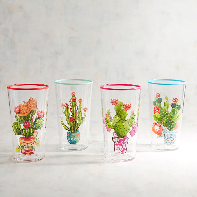 Cacti Houseplants Acrylic Tumblers, Set of 4