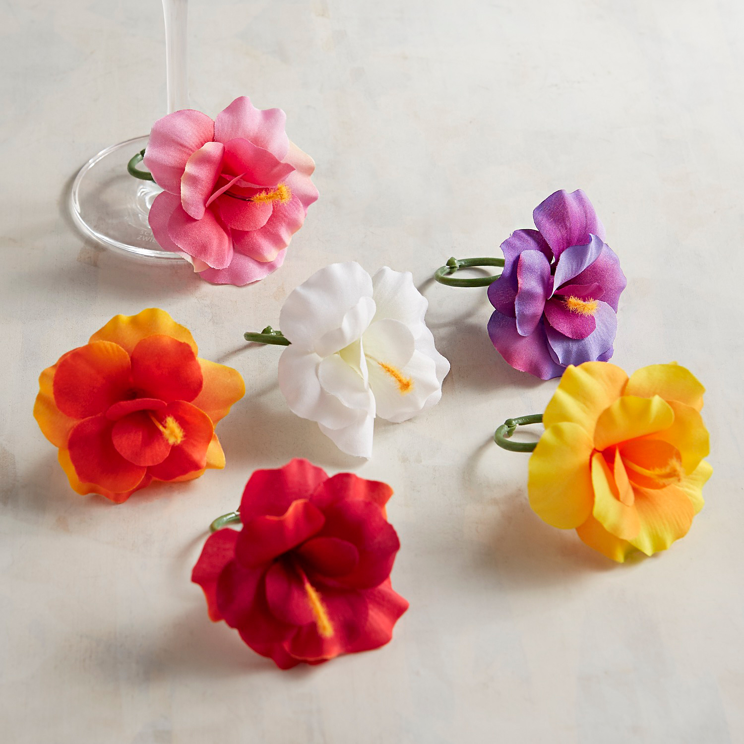 Hibiscus Faux Floral Wine Charm Set of 6