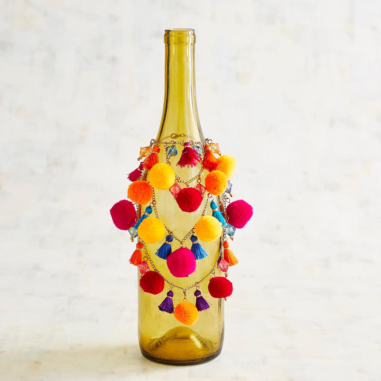 Tassel & Pompom Wine Bottle Embellishment