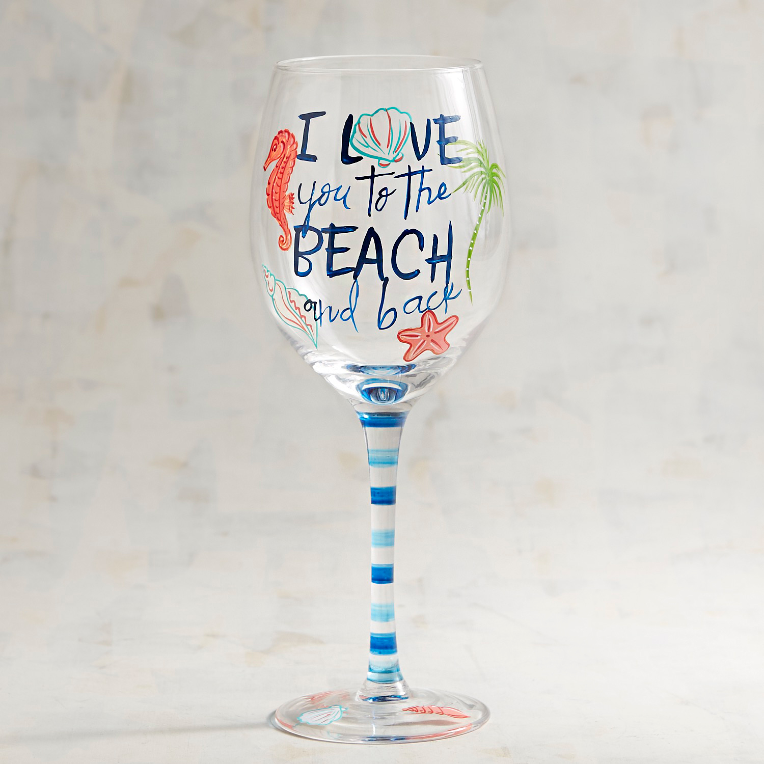 Love You to the Beach & Back Hand-Painted Wine Glass