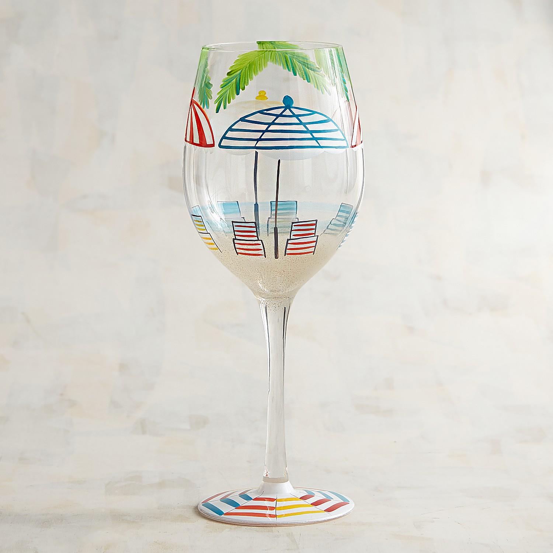 Beach & Umbrella Hand-Painted Wine Glass