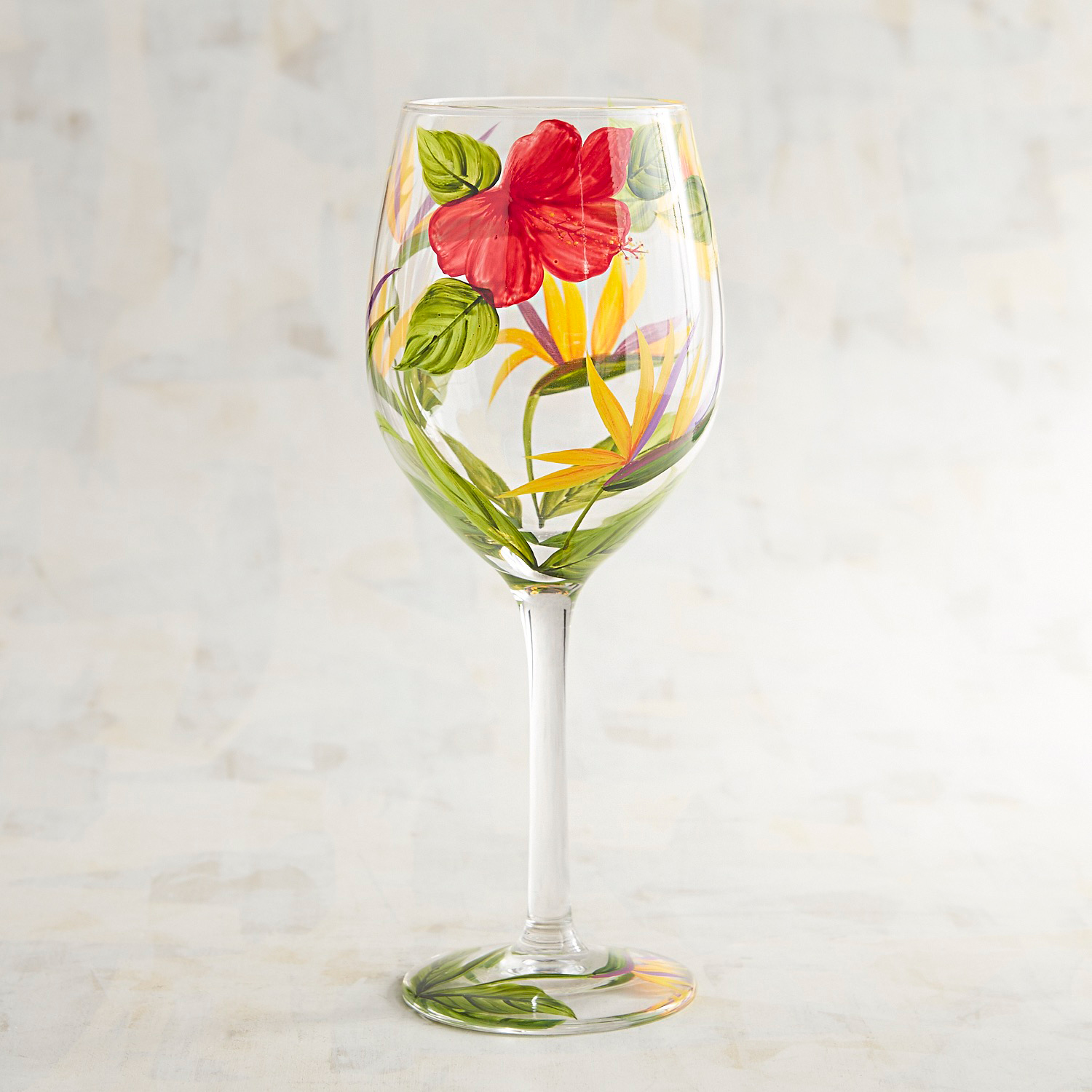 Bird of Paradise Tropical Hand-Painted Wine Glass