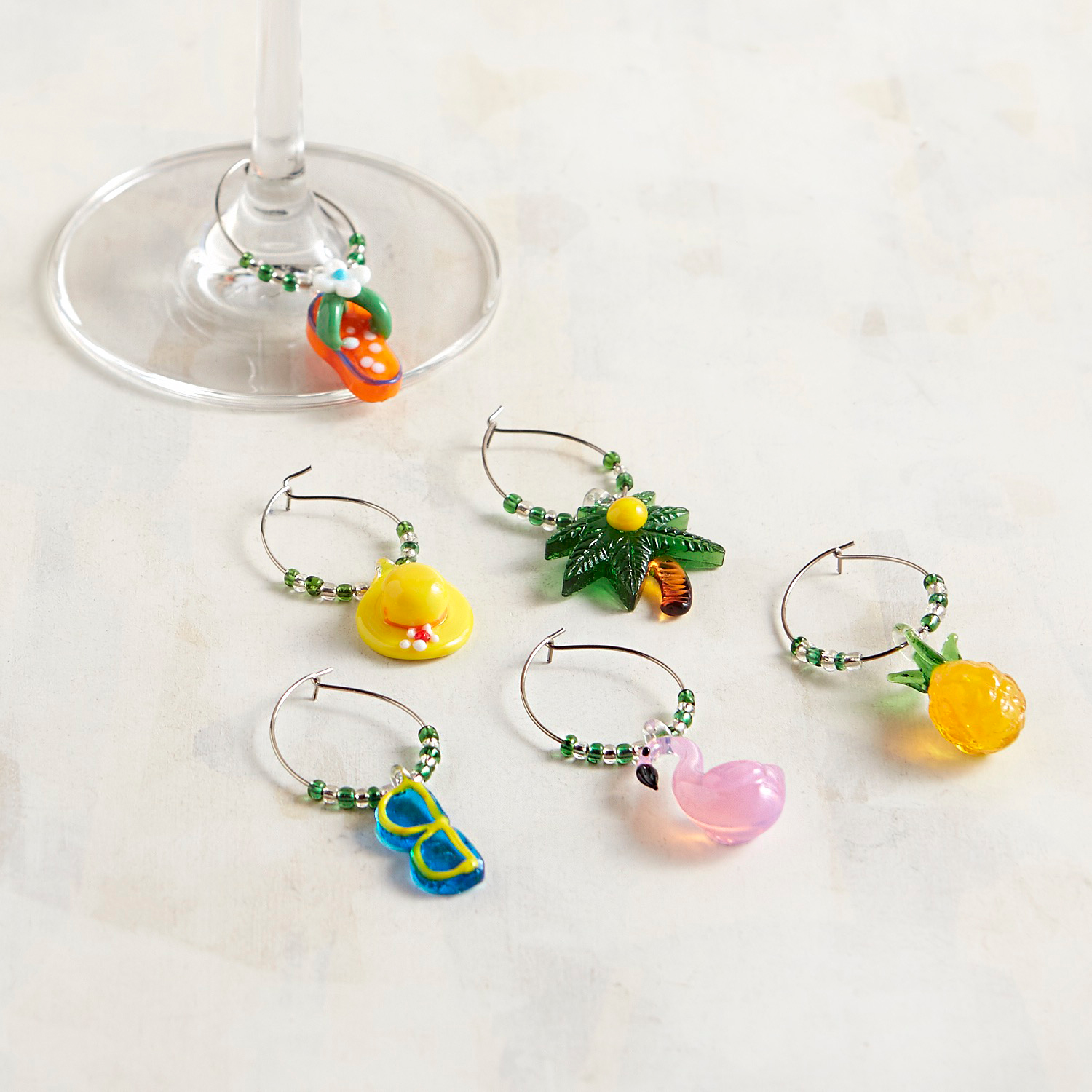 Tropical Wine Charm Set of 6