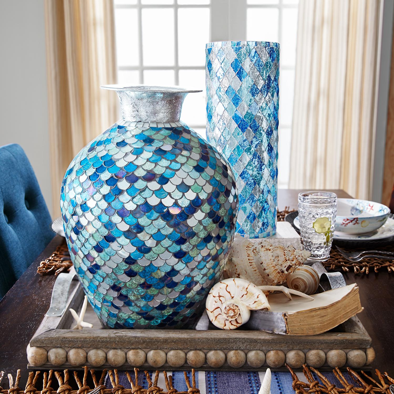 Blue Tonal Mosaic Vase