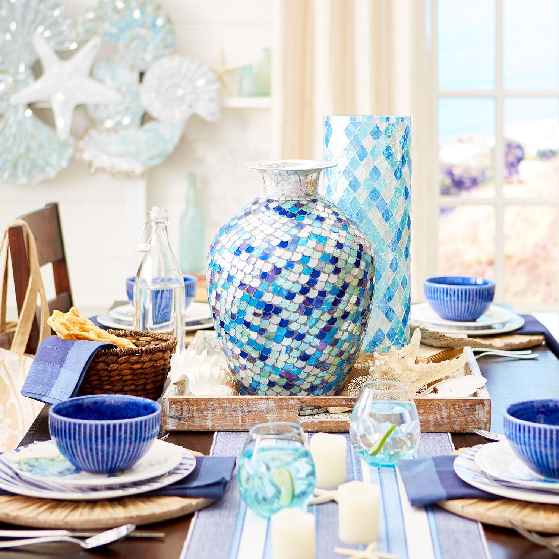 Blue Mosaic Cylinder Vase