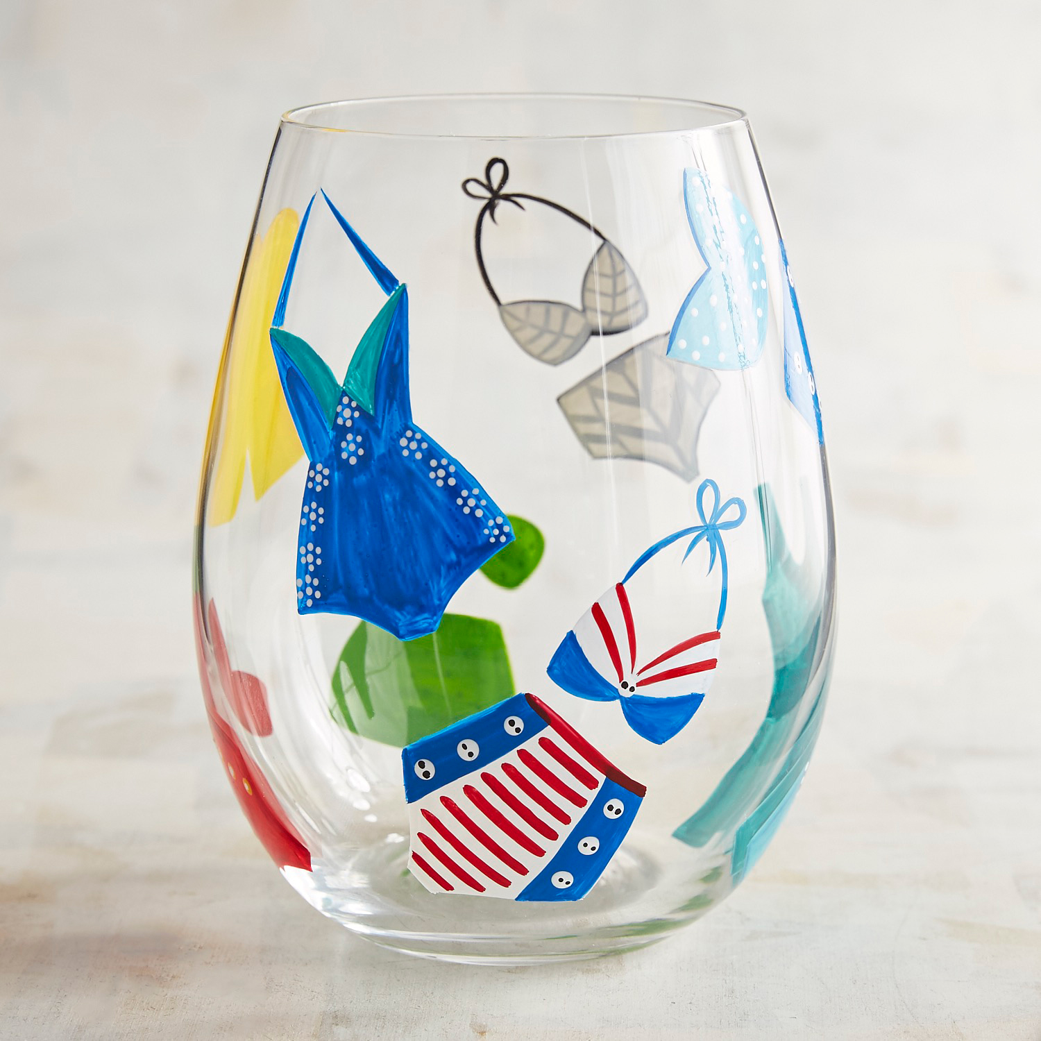 Beach Swimsuit Hand-Painted Stemless Wine Glass
