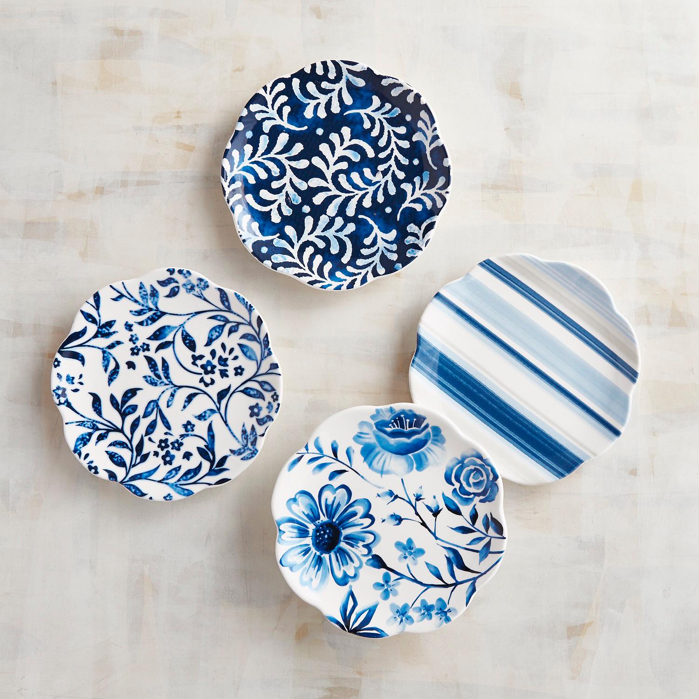 Azure Floral Appetizer Plates, Set of 4