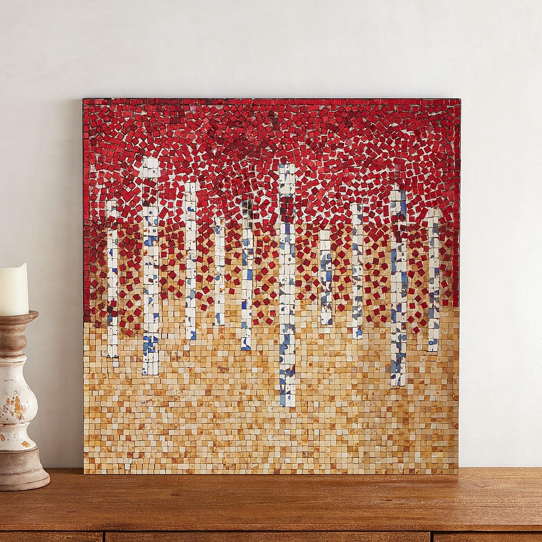 Red Abstract Mosaic Wall Panel
