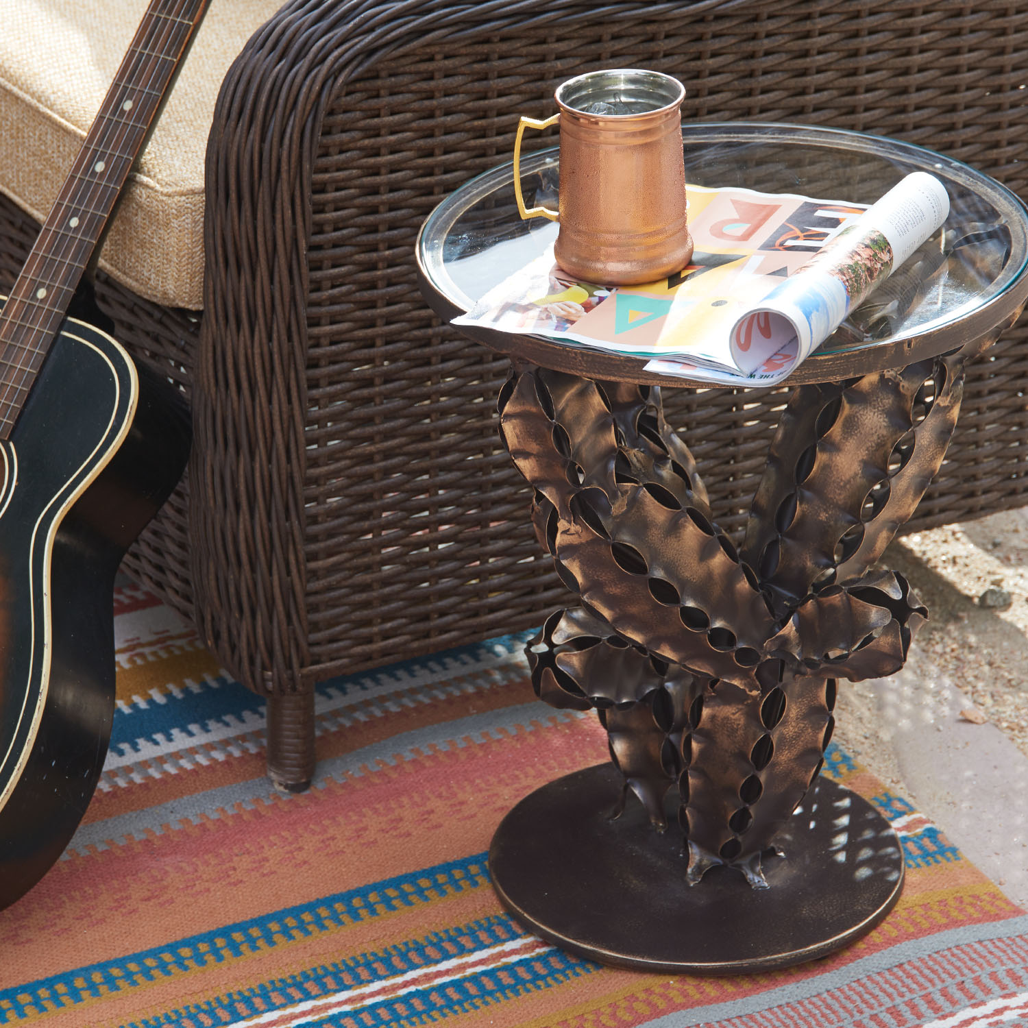 variation thumbnail of Bronze Iron Cactus Accent Table
