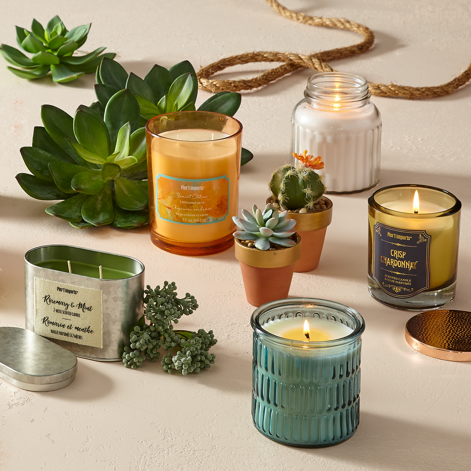 Rosemary & Mint Large Filled Candle