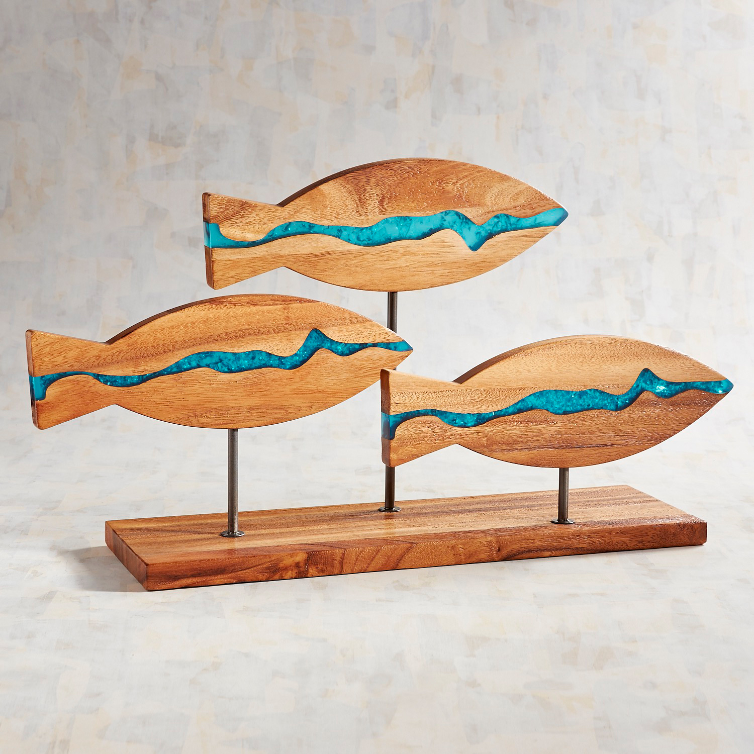 Wood & Blue Resin Fish Sculpture
