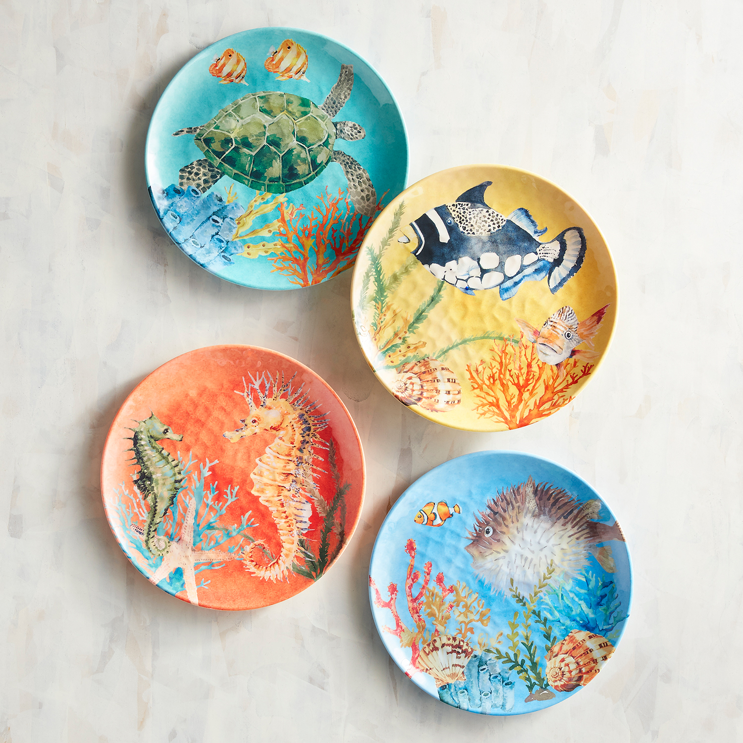 Bright Coastal Melamine Salad Plate Set of 4