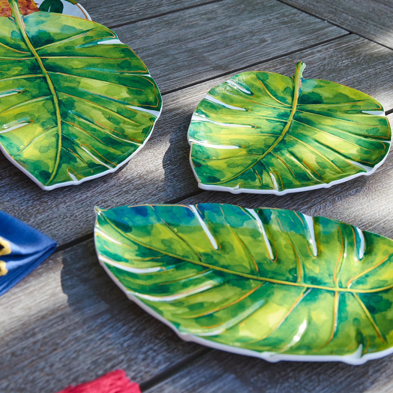 Palm Leaf Melamine Salad Plate