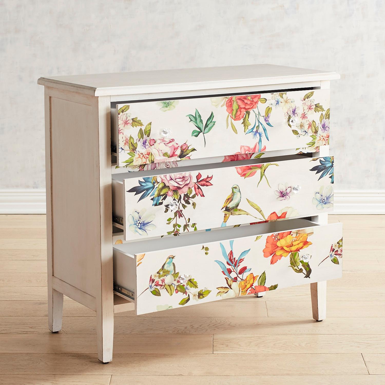 White Floral 3-Drawer Chest