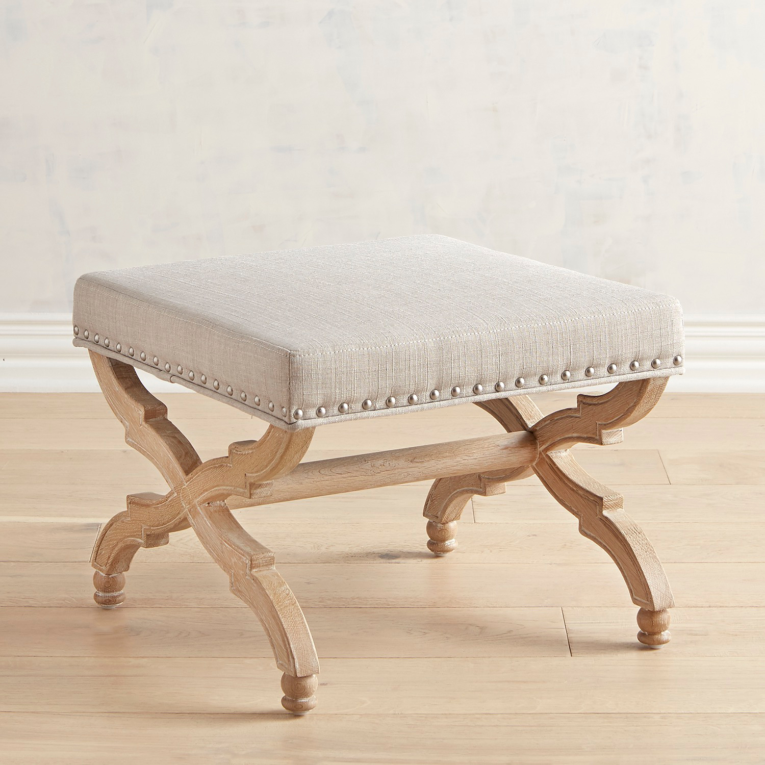 Isa Linen Ottoman with Natural Whitewashed Legs