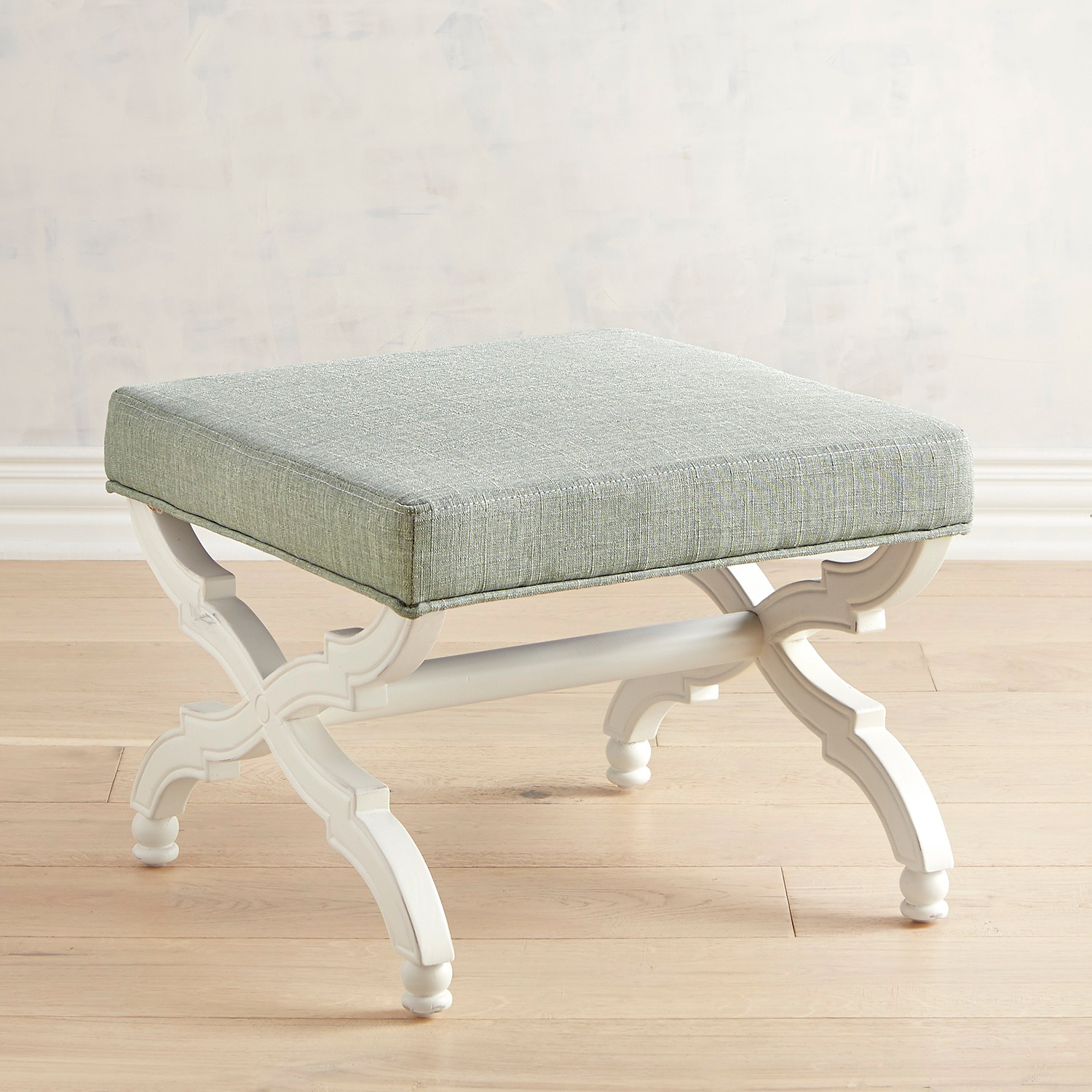 Isa Blue Ottoman with Antique White Legs
