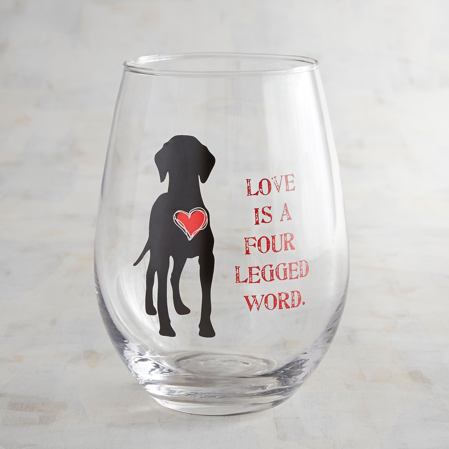 Love is a Four-Legged Word Stemless Wine Glass