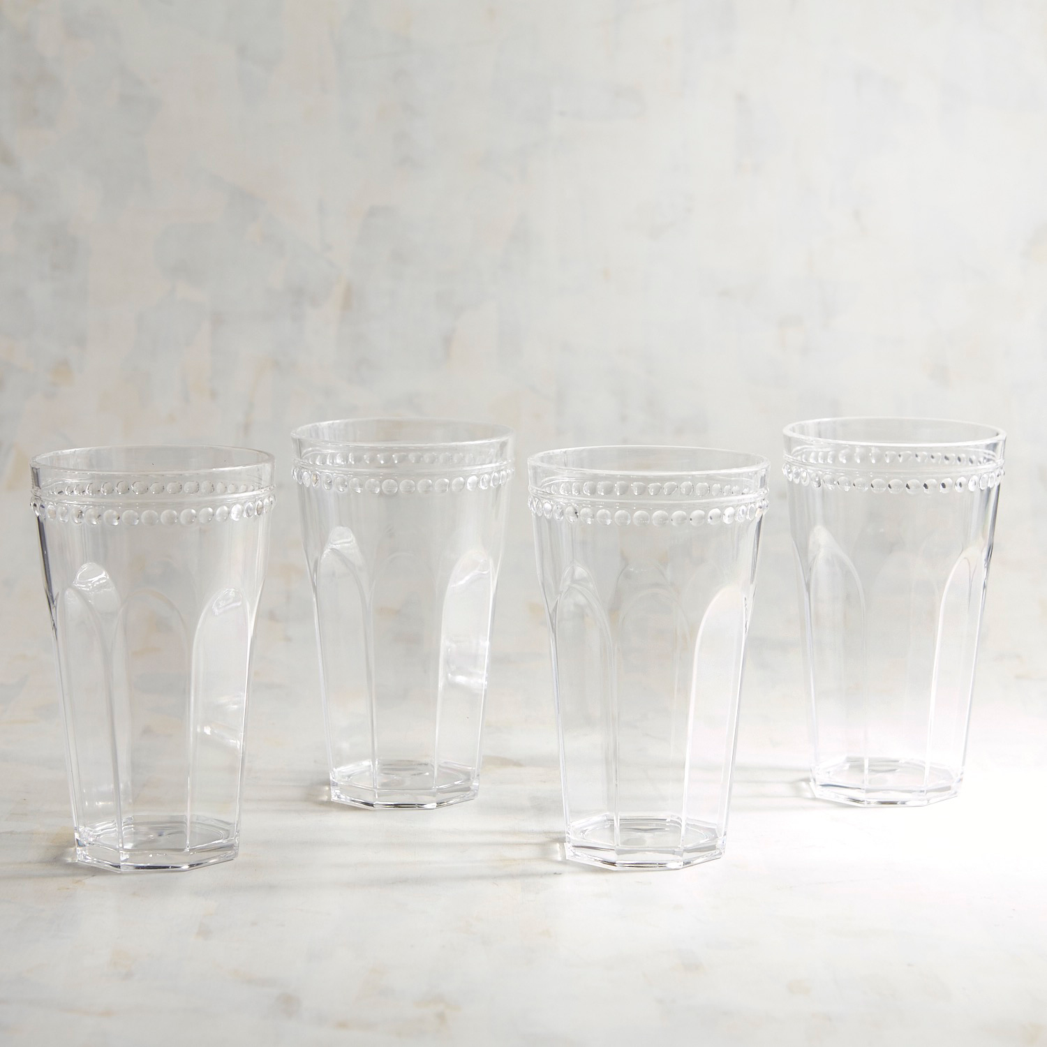 Beaded Rim Clear Acrylic Tumbler Set of 4