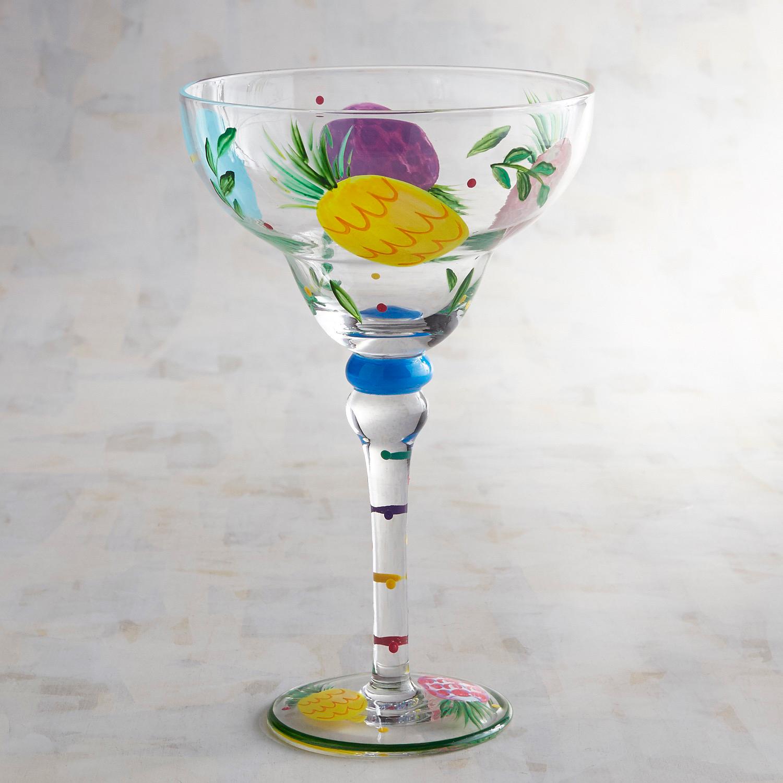 Pineapple Hand-Painted Margarita Glass