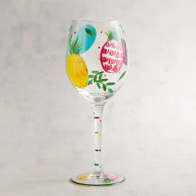Pineapple Hand-Painted Wine Glass