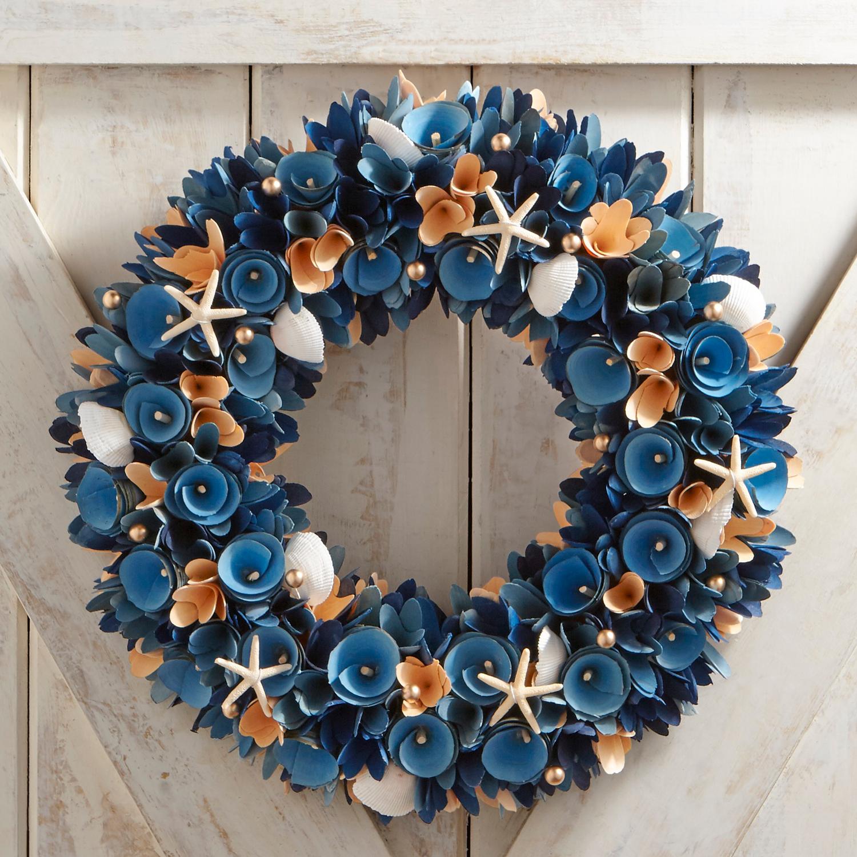 "Coastal Wood Curl 19"" Wreath"