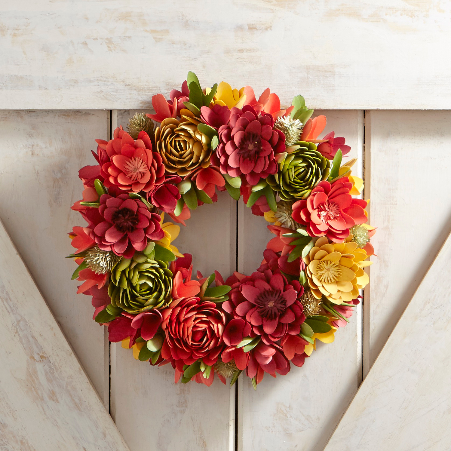 "Sunset Floral Wood Curl Mini 14"" Wreath"