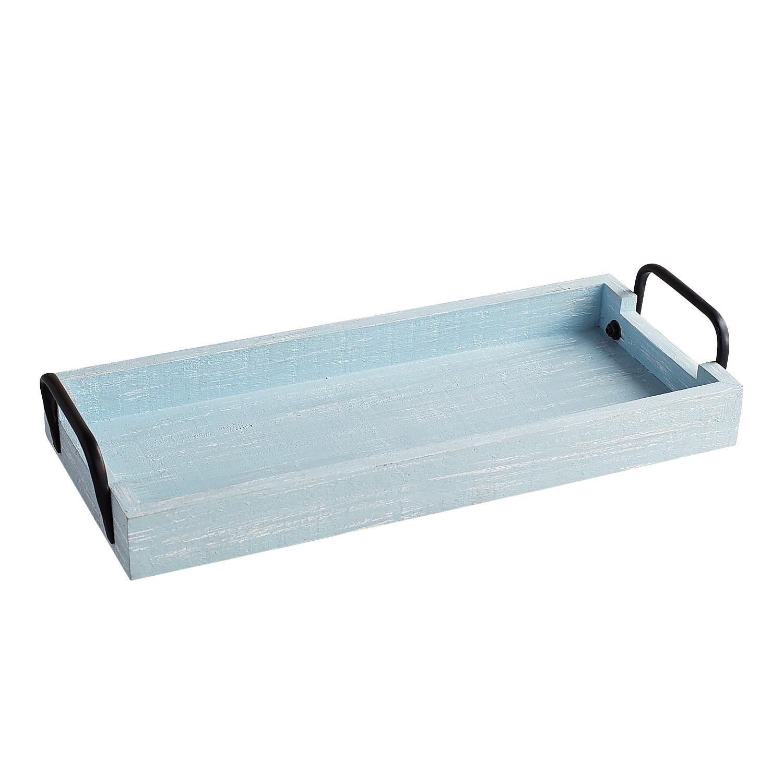 Wood & Metal Blue Bath Vanity Tray