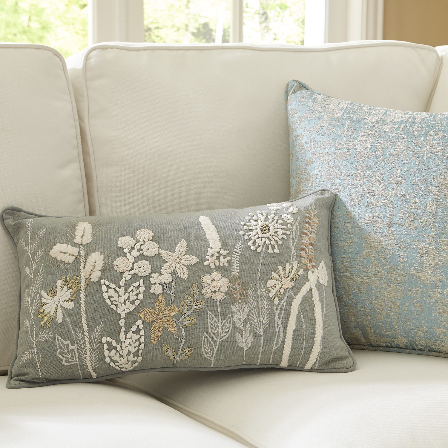 Beaded & Embroidered Natural Floral on Blue Lumbar Pillow