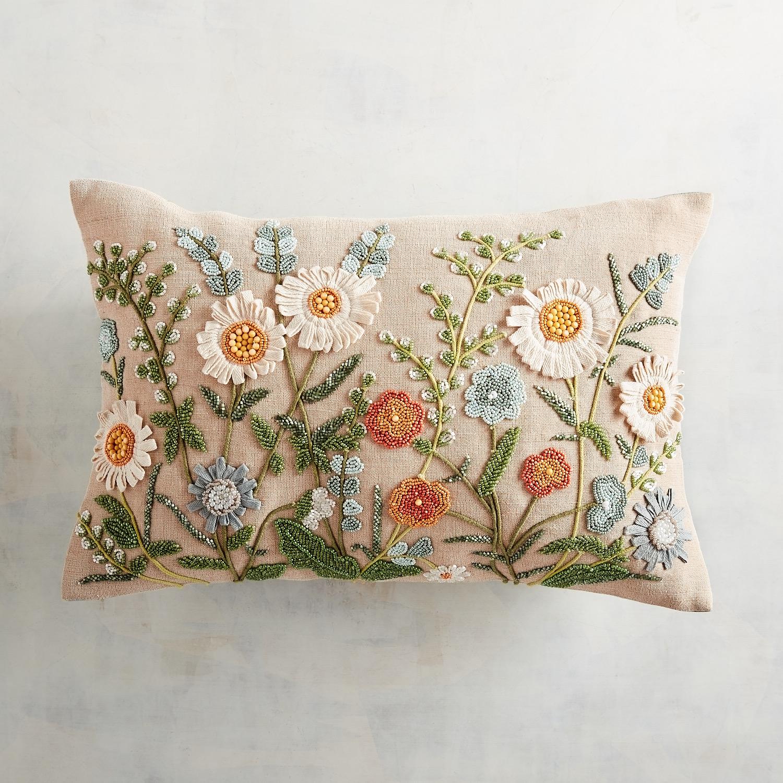 Beaded Daisies Lumbar Pillow