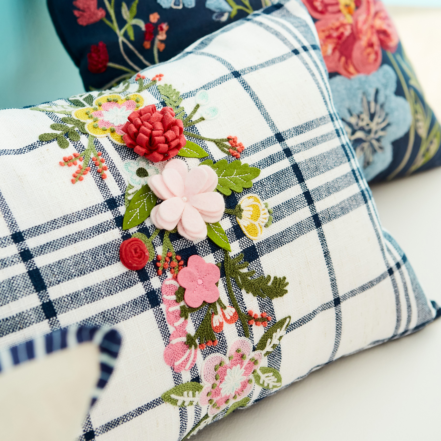 variation thumbnail of Plaid Floral Pillow