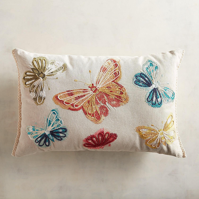 Embroidered Multi Butterflies Lumbar Pillow