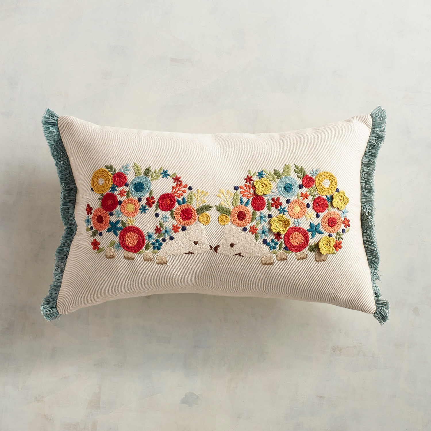 Embroidered Floral Hedgehogs Lumbar Pillow