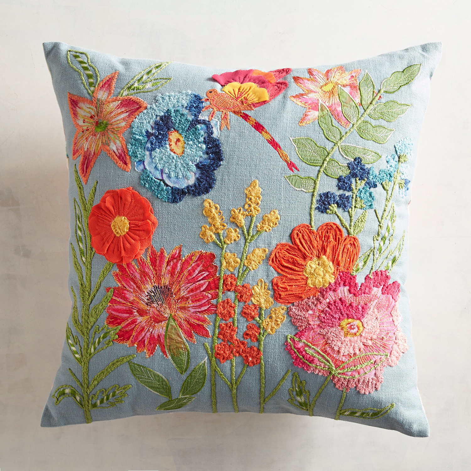 Multi Floral Blue Embroidered Pillow