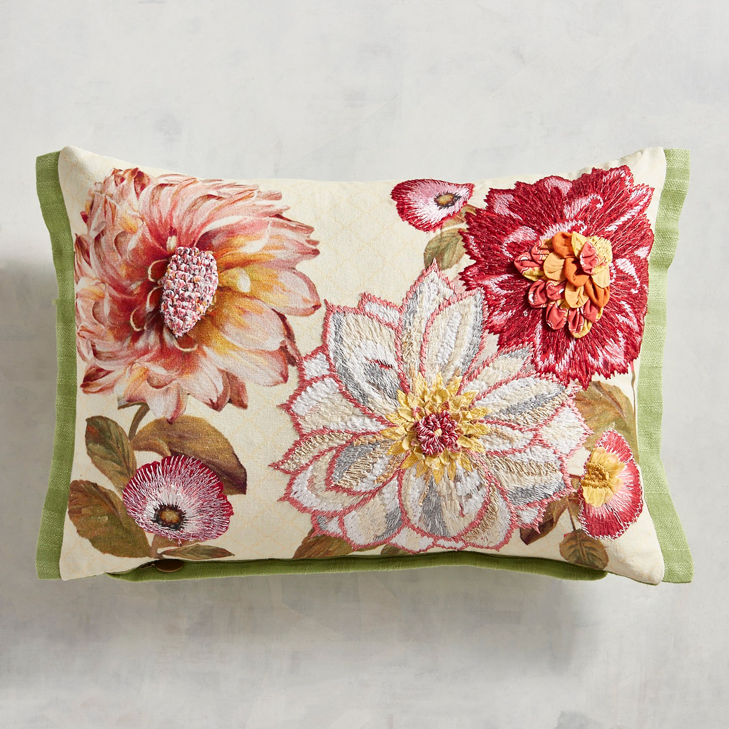 Embroidered Pink Blooms Pillow
