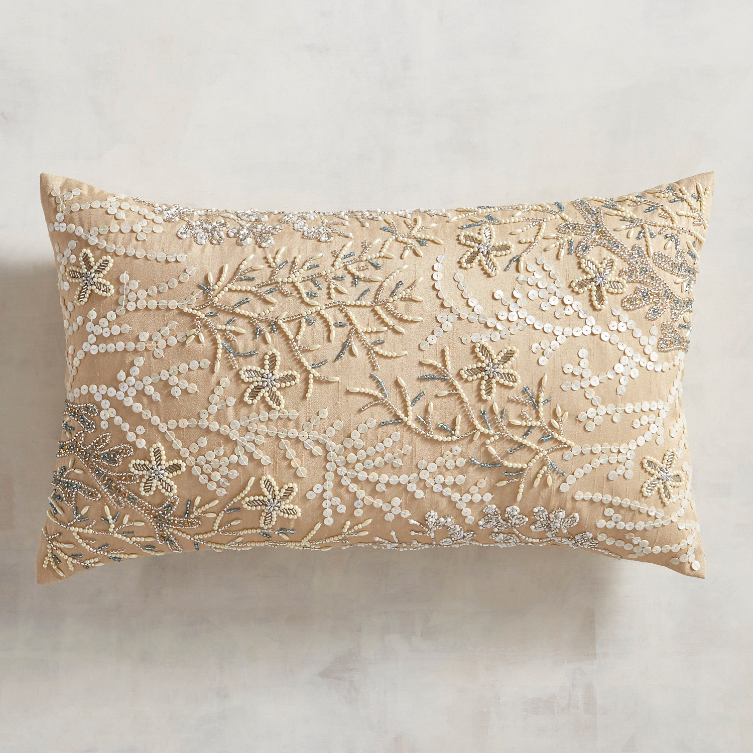 Beaded Natural Coral Lumbar Pillow