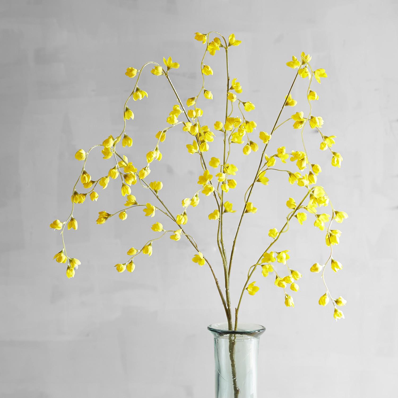 Yellow Faux Wild Wax Flower Spray