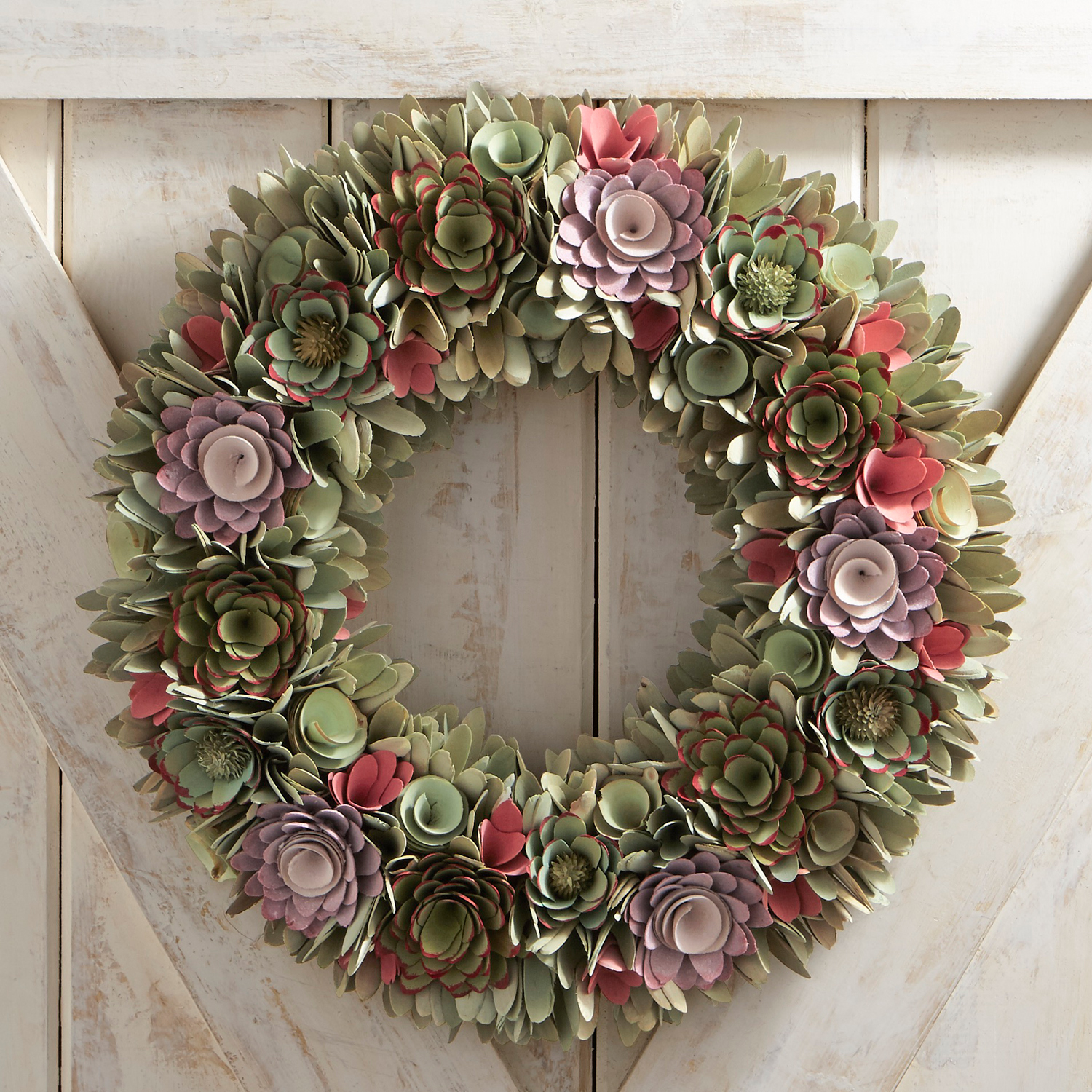 "Sage Green Faux Succulent & Wood Curl 19"" Wreath"