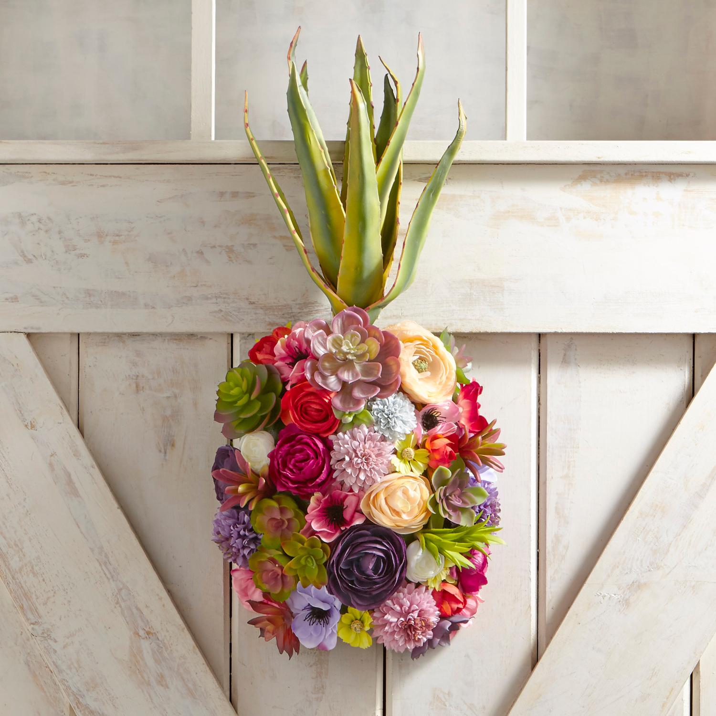 Faux Floral Pineapple Door Decor & Wreath