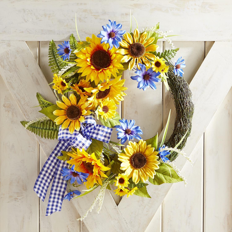 "Asymmetrical Faux Sunflower 16"" Wreath"