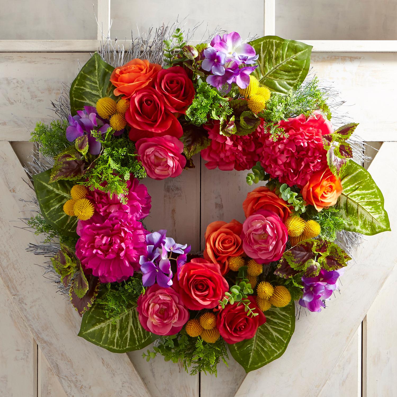 "Faux Summer Rose 22"" Wreath"