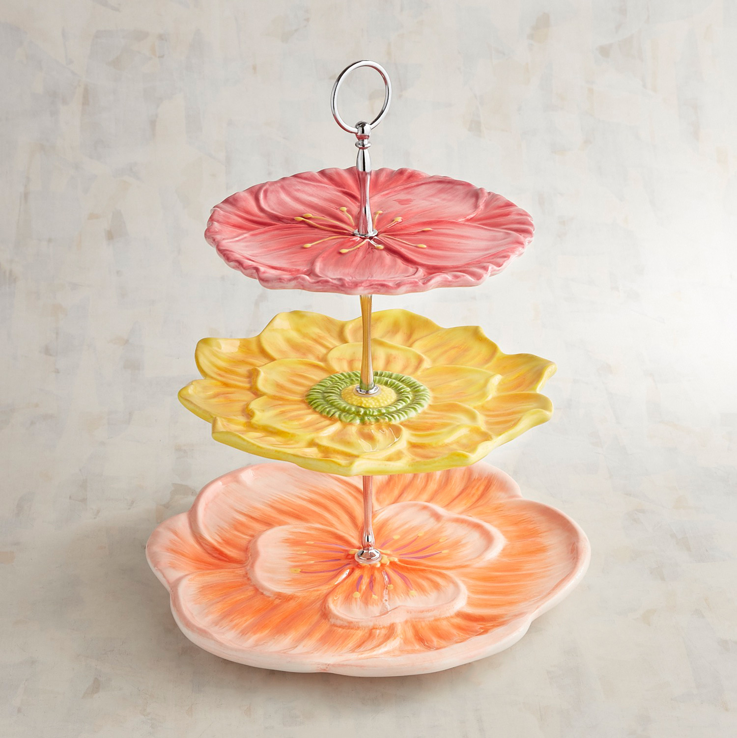 Bright Floral 3-Tiered Server