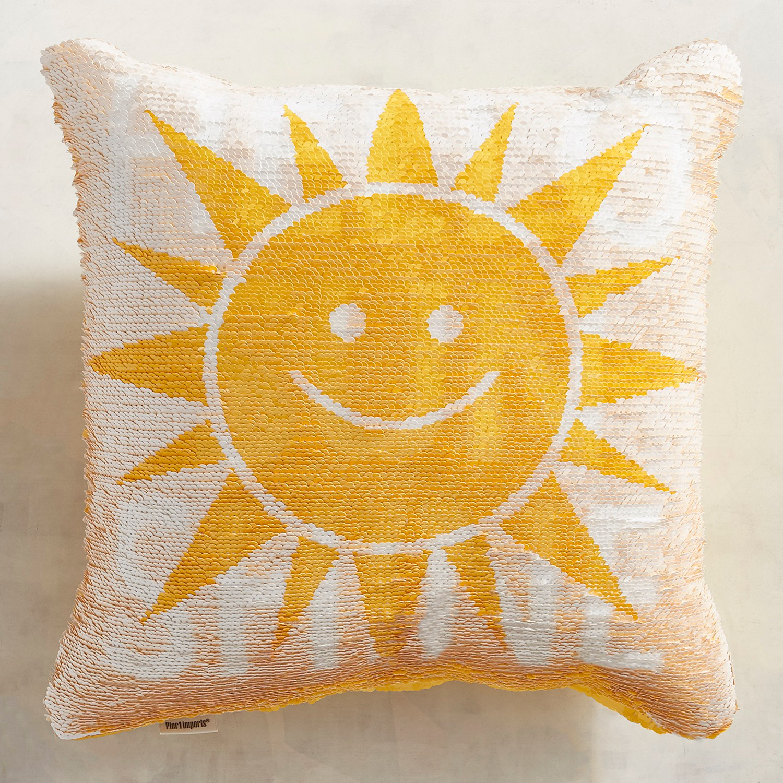 Hello Sunshine Reversible Sequins Mermaid Pillow