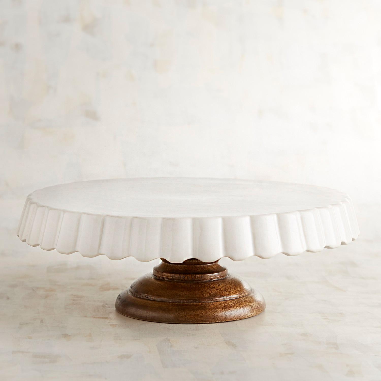 White Ceramic & Wood Cake Stand