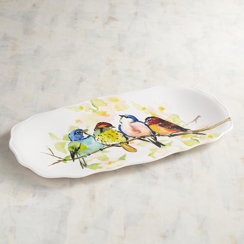 Spring Birds Melamine Rectangular Platter