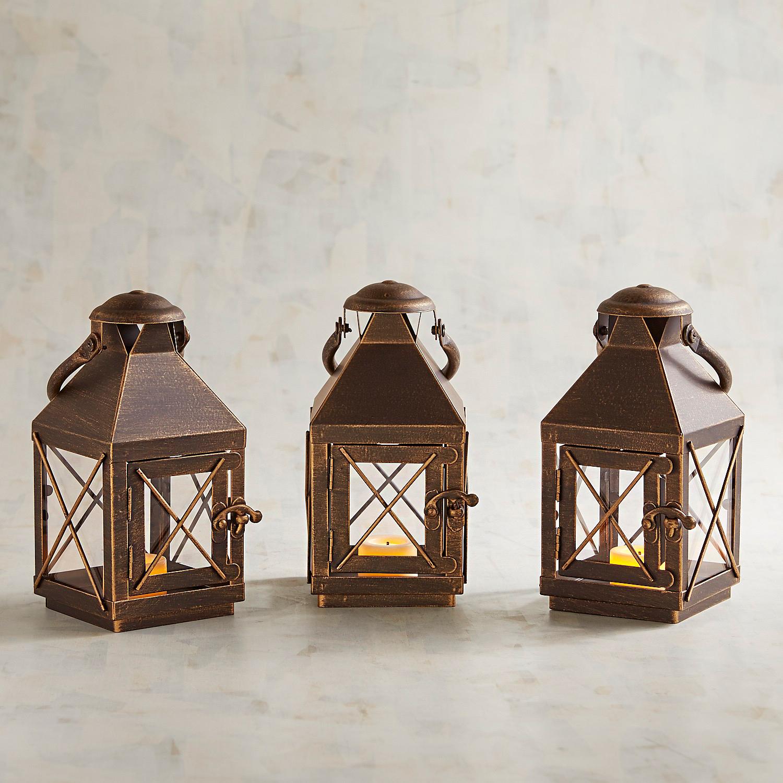 Bennett Mini Black Metal Lanterns, Set of 3