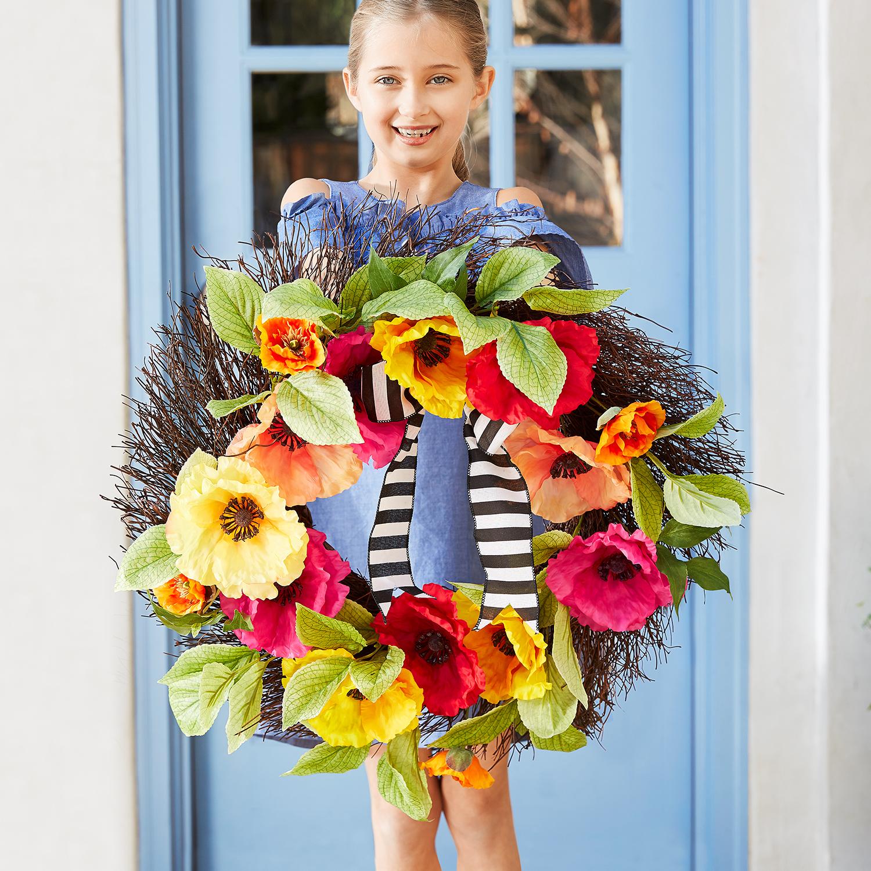 "Faux Peony & Poppy 22"" Wreath with Black & White Ribbon"