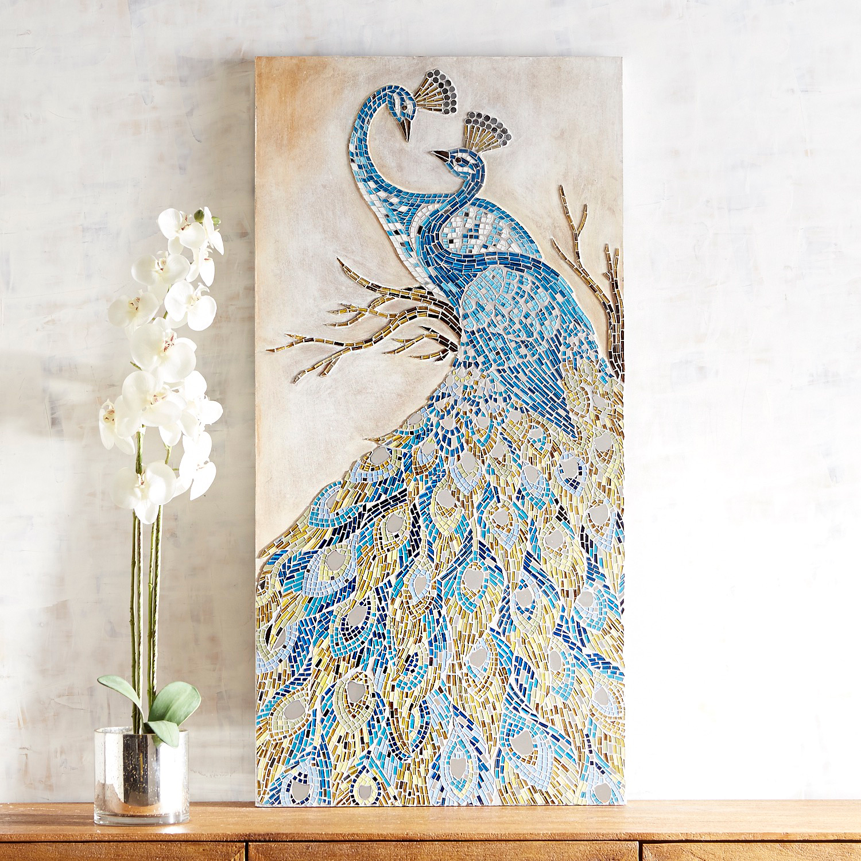 Intertwined Mosaic Peacocks Wall Panel