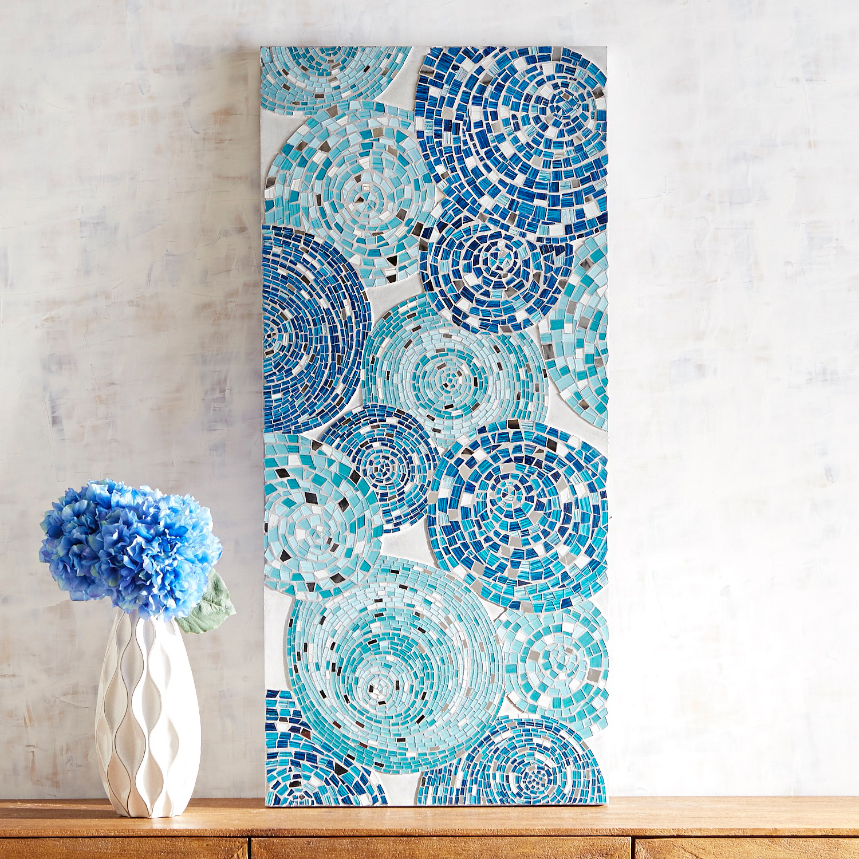 Blue Swirls Mosaic Wall Panel