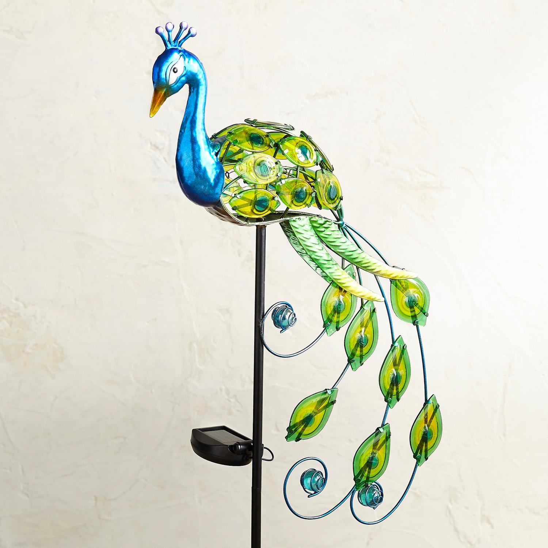 Fancy Peacock LED Solar Garden Stake